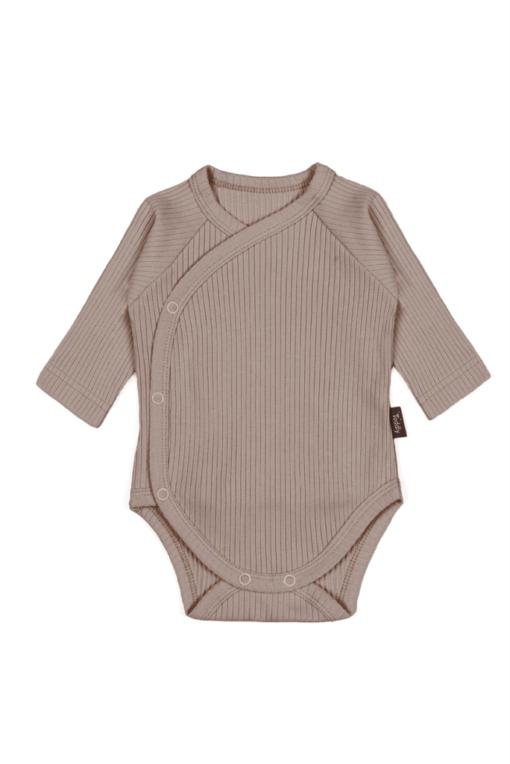 Body kopertowe dla niemowląt z prążkowanej bawełny organicznej - brazowe
