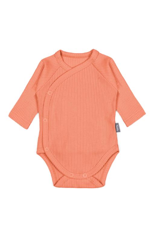 Body kopertowe dla niemowląt z prążkowanej bawełny organicznej - pomaranczowe