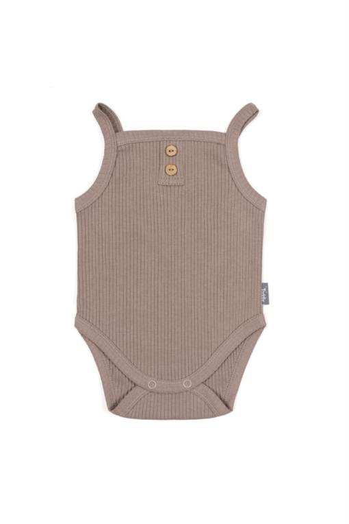 Body na ramiączkach dla niemowląt brązowe - prążkowane