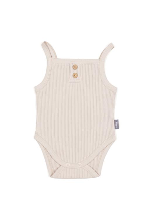 Body na ramiączkach dla niemowląt w kolorze piaskowym - prążkowane