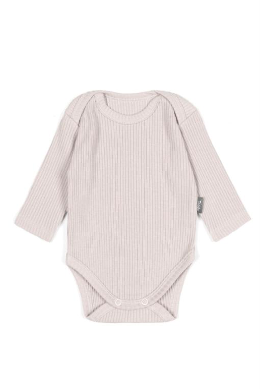 Body niemowlęce z długim rękawem prążkowane - piaskowe