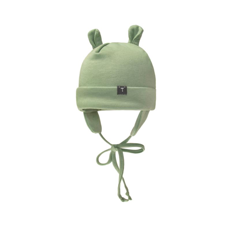 Czapka niemowlęca zielona wiązana pod szyją z nausznikami. Misiowe uszy.