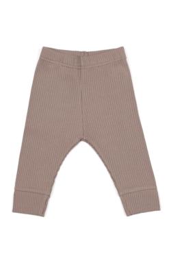 Legginsy dla niemowląt z prążkowanej bawełny organicznej - brazowe