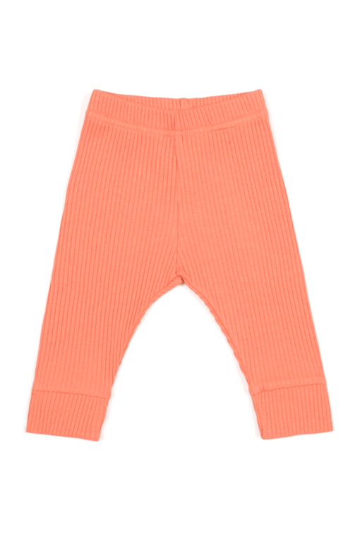 Legginsy dla niemowląt z prążkowanej bawełny organicznej - pomaranczowe