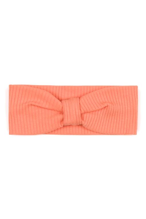 Opaska niemowlęca dla dziewczynki z prążkowanej bawełny organicznej - pomarańczowa