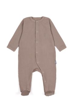 Pajacyk dla niemowląt z prążkowanej bawełny organicznej - brazowy