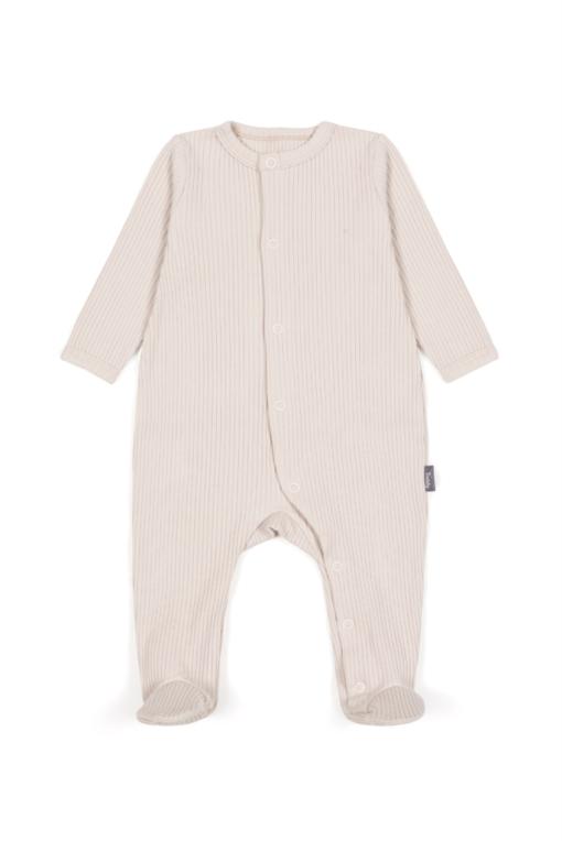 Pajacyk dla niemowląt z prążkowanej bawełny organicznej - piaskowy