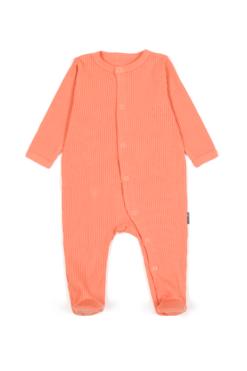 Pajacyk dla niemowląt z prążkowanej bawełny organicznej - pomarańczowy