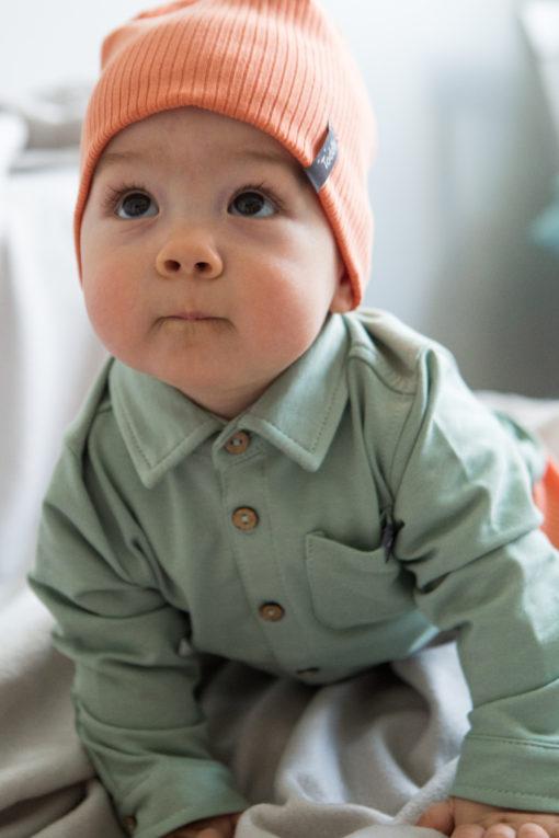Wywijana czapka niemowlęca - pomarańczowa