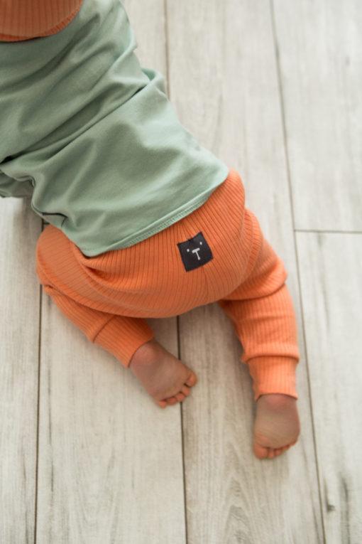 Legginsy niemowlęce z prążkowanej dzianiny - pomarańczowe