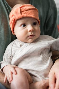 Prążkowane body kimono niemowlęce - piaskowe