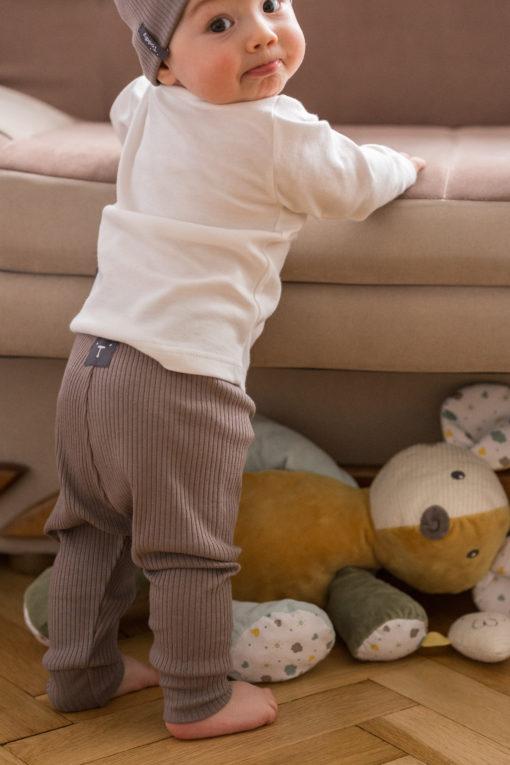 Legginsy niemowlęce w prążki - brązowe