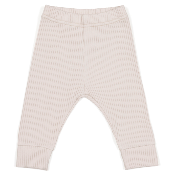 Legginsy dla niemowląt z prążkowanej bawełny organicznej - piaskowe
